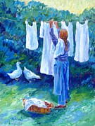 Apparel Painting Prints - Hanging the Whites  Print by Trudi Doyle