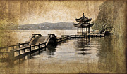 China Pavilion Posters - Hangzhou lake Poster by Delphimages Photo Creations
