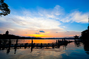 Travel China Posters - Hangzhou West Lake Sunset China Poster by Fototrav Print