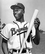 Baseball Bat Photo Framed Prints - Hank Aaron Poster Framed Print by Sanely Great