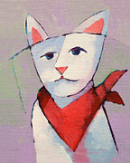 Handkerchief Framed Prints - Hanky Cat Framed Print by Lutz Baar