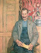 Mustaches Metal Prints - Hans Arnbom The Carpenter Metal Print by Carl Larsson