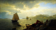 Monet Art - Hans Fredrik Gude  Norsk kust 1872  by MotionAge Art and Design - Ahmet Asar