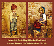 Little Boy Framed Prints - Hansel and Gretel Brothers Grimm Framed Print by Wilhelm Kaulbach