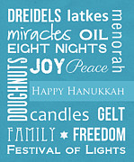 Featured Mixed Media Posters - Hanukkah Fun Poster by Linda Woods