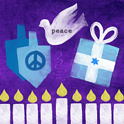 Christmas Star Mixed Media Posters - Hanukkah Peace Poster by Linda Woods