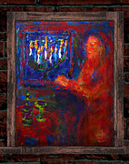 Menorah Mixed Media Prints - Hanukkah Window Print by Michael Klein