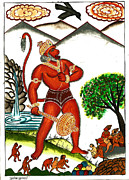 Incarnation Painting Framed Prints - Hanuman Framed Print by Ashok Kumar