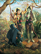 Devotional Paintings - Hanuman meeting Ram and Laxman by Vrindavan Das