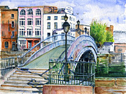 Bridge Painting Originals - Hapenny Bridge Dublin by John D Benson