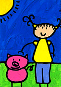 Childrens Mixed Media Prints - Happi Arte 1 - Girl With Pink Pig Art Print by Sharon Cummings