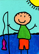 Childlike Metal Prints - Happi Arte 2 - Boy Fish Art Metal Print by Sharon Cummings
