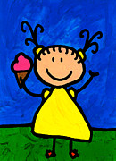 Blue Sky Mixed Media Framed Prints - Happi Arte 3 - Little Girl Ice Cream Cone Art Framed Print by Sharon Cummings