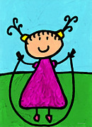 Kids Room Mixed Media Posters - Happi Arte 7 - Girl On Jump Rope Art Poster by Sharon Cummings
