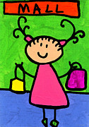 Purses Prints - Happi Arti 5 - Shopaholic Little Girl Art Print by Sharon Cummings
