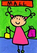 Happi Arti 5 - Shopaholic Little Girl Art Print by Sharon Cummings