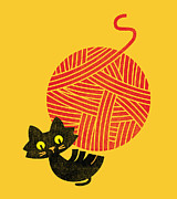 Cute Cat Digital Art Posters - Happiness cat and yarn Poster by Budi Satria Kwan