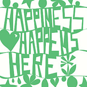 Kids Room Framed Prints - Happiness Happens Here Framed Print by Khristian Howell