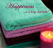 Absorbent Posters - Happiness is - Bathroom - Towels - Interior Decorator Poster by Barbara Griffin