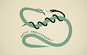 Husband Digital Art Posters - Happy anniversary snakes Poster by Igor Kislev