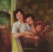 Boy And Girl Drawings - Happy Asian Family by Marilyn Weisberg
