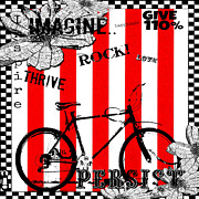 Stripes Mixed Media - Happy Bicycle Art by Anahi DeCanio