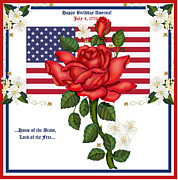 4th July Painting Posters - Happy Birthday America Poster by Anne Norskog
