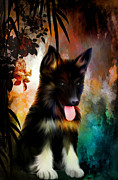Dog Portrait Digital Art Originals - Happy Birthday. by Andrzej  Szczerski
