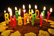 Happy Metal Prints - Happy Birthday Candles Metal Print by Lars Ruecker