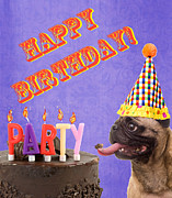 Pug Dog Posters - Happy Birthday Card Poster by Edward Fielding