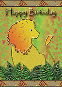 Wildlife Celebration Digital Art - Happy Birthday Lion by Jeanette K