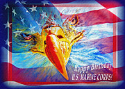 Patriotic Paintings - Happy Birthday Marine Corps by Donna Proctor