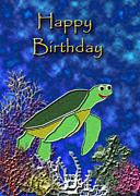 Wildlife Celebration Mixed Media - Happy Birthday Sea Turtle by Jeanette K