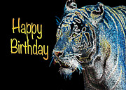 Asian Tiger Digital Art - Happy Birthday Wild Cat by Daphne Sampson