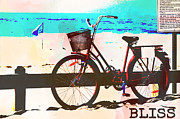 Summer Vacation Framed Prints - Happy Bliss Bike Framed Print by Adsice Studios
