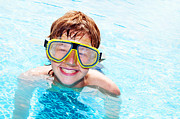 Pool Break Prints - Happy boy in a pool Print by Michal Bednarek