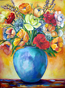 Roses Poppies Paintings - Happy bunch by Helena Kruger