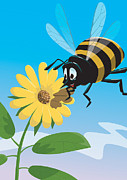 Honey Bee Prints - Happy cartoon bee with yellow flower Print by Martin Davey