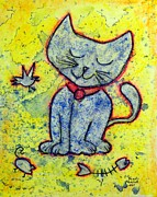 Pussy Mixed Media Framed Prints - Happy Cat number 1 Framed Print by Kenny Henson