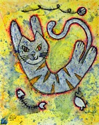 Pussy Mixed Media Framed Prints - Happy Cat number 2 Framed Print by Kenny Henson