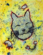 Pussy Mixed Media Framed Prints - Happy Cat number 3 Framed Print by Kenny Henson