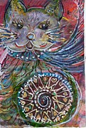 Happy Cat With Wheel Of Cleopatra Print by Anne-Elizabeth Whiteway