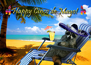 Donkey Digital Art - Happy Cinco de Mayo Raccoon by Jeanette Kabat