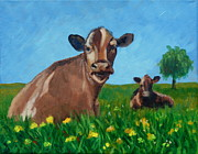Field Of Dandelions Posters - Happy cows on a sunny day Poster by Hilary England