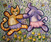 Pussy Mixed Media Framed Prints - Happy Dance Framed Print by Kenny Henson