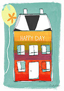 Yellow Green Blue Prints - Happy Day Card Print by Linda Woods