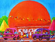 Montreal Restaurants Paintings - Happy Days At The Big  Orange by Carole Spandau