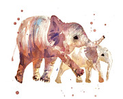 Elephant Art Prints - Happy Days Elephants Print by Alison Fennell