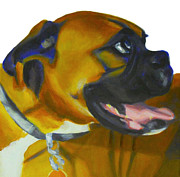 Boxer Paintings - Happy Dog by Sarah Vandenbusch