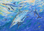 Ocean Mammals Originals - Happy Dolphins. by Agnieszka Praxmayer